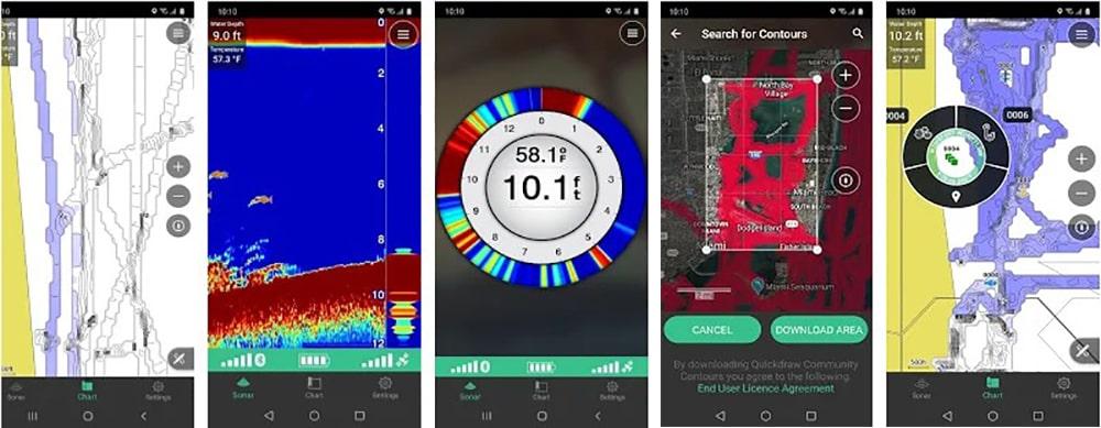Изображения на экране смартфона в приложении Garmin STRIKER ™ Cast
